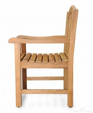 Teak Dining Chair with Arms and Curved Top - Aquinah